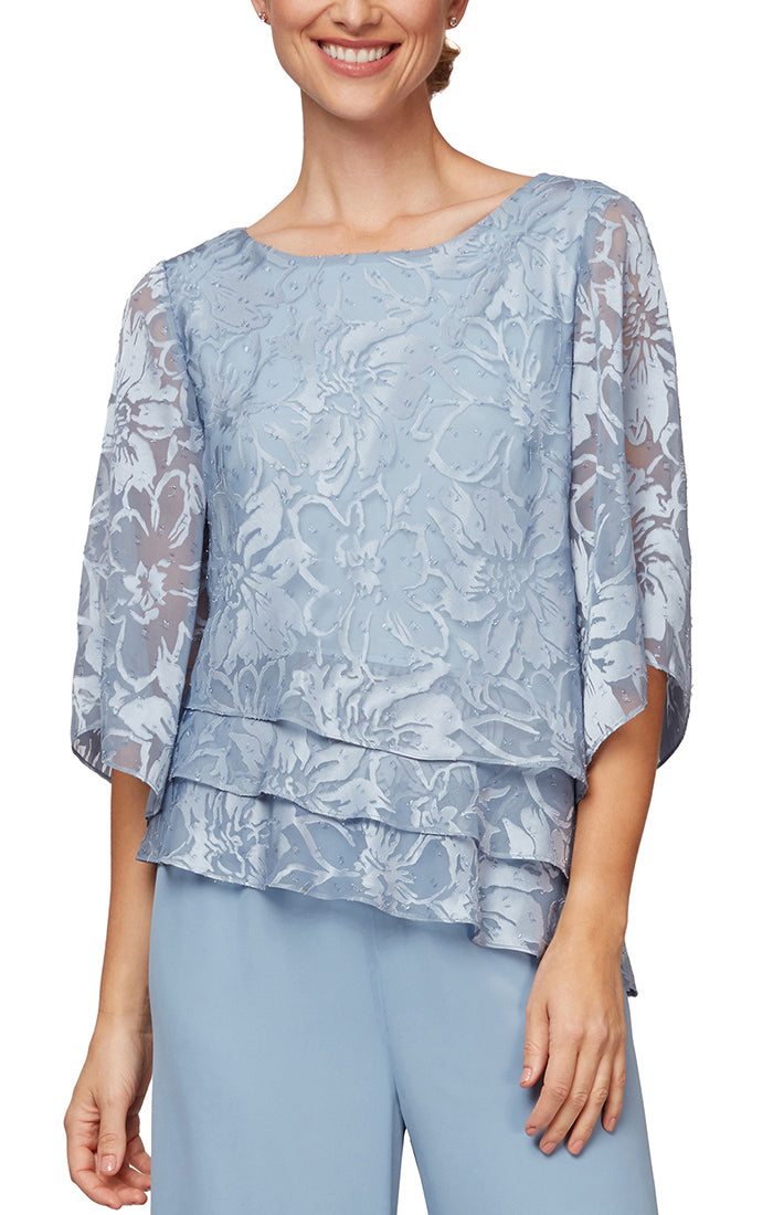 Burnout Chiffon Blouse With Asymmetrical Triple Tier Hem & Illusion Sleeves