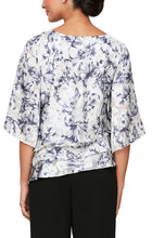 Load image into Gallery viewer, Printed Chiffon Burnout Blouse With Asymmetric Triple Tier Hem