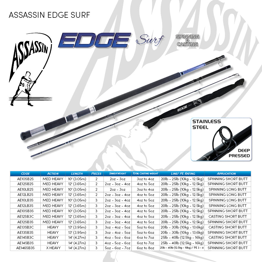 Assassin Edge Surf 12''LB Spin Rod