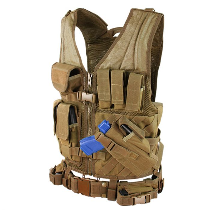 "Condor Cross Draw Vest Medium/Large - Up to 44"" Coyote Brown"