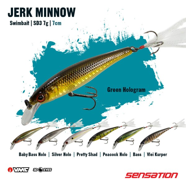 Sensation Jerk Minnow SD3 Silver Hologram