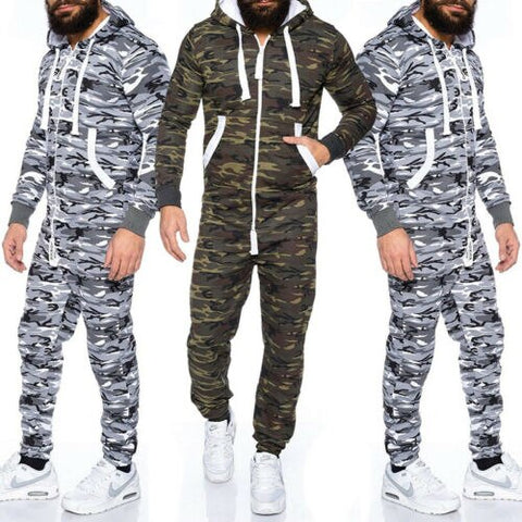 Men's One Piece Tracksuit Solid Hooded Jumpsuit Zip Up Pajama Playsuit Adult Pajamas All in One Camo Camouflage Combat