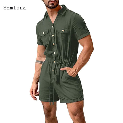 2020 Summer Fashion Short Sleeve Mens Rompers Male Single Breasted Jumpsuit Solid One Piece Jumpsuit Pocket Streetwear Cool Mens