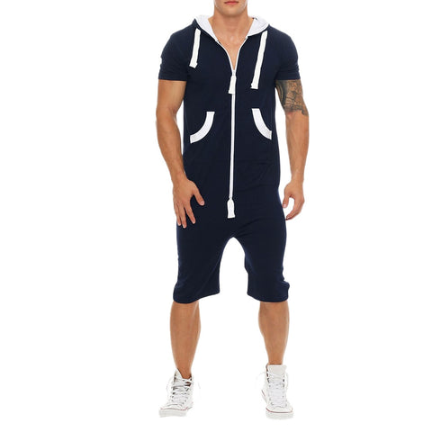 Summer Casual Tracksuit Jumpsuit Mens Short Sleeve Sweatshirt Hoodies Gym Short Pants Romper Mens Overalls Sportswear M-3xl