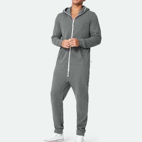 Hoodies Overalls Men Pure Color Splicing Jumpsuit Long Sleeve Male Clothes Men's Jumpsuits -piece Garment Pajama Streetwear