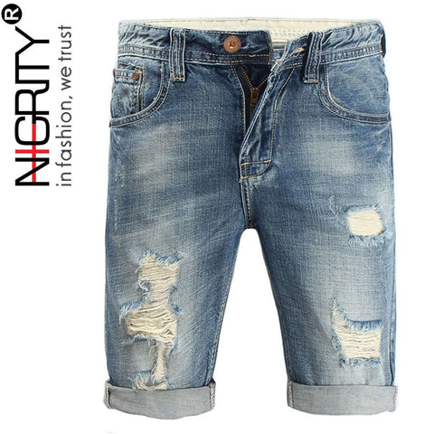 NIGRITY 2021 New Fashion Brand Quality Mens Ripped Denim Shorts