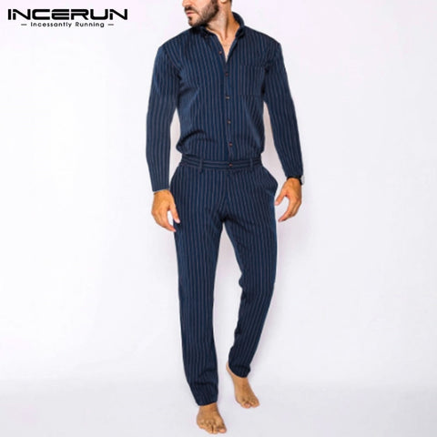 Fashion Men Jumpsuit Striped Casual Long Sleeve Overalls Streetwear Stand Collar 2020 Leisure Chic Mens Rompers Pants INCERUN