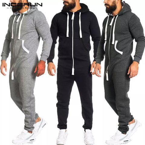 Long Sleeve Hooded Causal Pants Rompers INCERUN Mens Leisure Solid Jumpsuits Fashion Zipper Pockets Bib Pants Mens Jumpsuit 5XL
