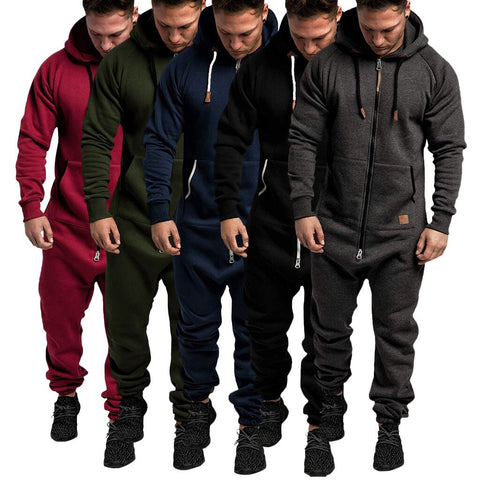 Men Pure Color Splicing Jumpsuit 2020 Autumn Winter Casual Hoodie Print Zipper Jumpsuit One Piece Playsuit Male Jumpsuits Suits