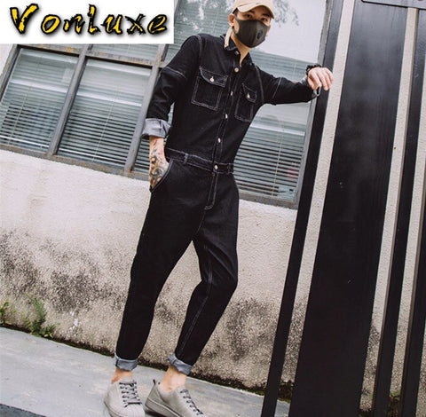 Jeans Jumpsuits Men One Piece Overalls Cotton Ripped Denim Rompers Embroidery Design Spring Summer Autumn Male Clothes 2020 New