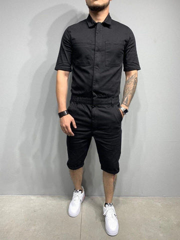 2020 men's jumpsuit One-piece  Man Playsuit Summer Zipper Short Sleeve onesie Male Jumpsuit Streetwear Overalls style hot