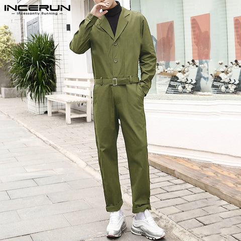 Fashion Men Cargo Overalls Streetwear Solid Color Button Long Sleeve 2020 Jumpsuit Casual Pants Mens Rompers With Belt INCERUN