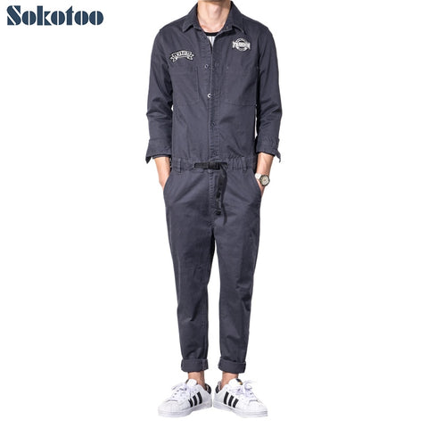 Sokotoo Men's dark gray long sleeve slim jumpsuits Casual elastic waist patches design jeans overalls set