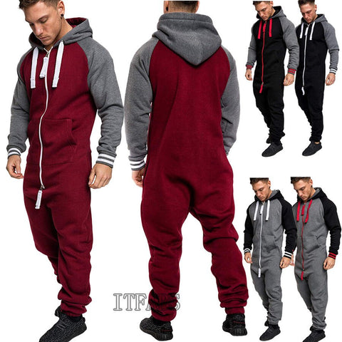 Women Men Hooded Tracksuit Zipper Ones Jumpsuit Ladies One Piece Playsuit Unisex Hoody Long Sleeve Warm Set Trousers