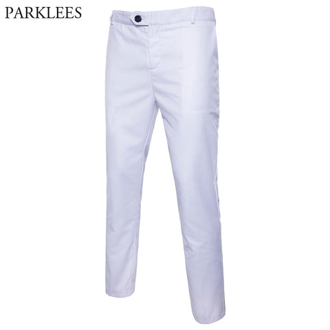 White Slim Fit Straight formal pants