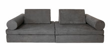 Load image into Gallery viewer, Graphite grey coloured Cozy Fort play couch with cylinder bolsters.