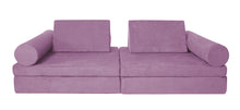 Load image into Gallery viewer, Mauve coloured Cozy Fort play couch with cylinder bolsters.