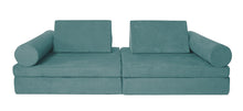 Load image into Gallery viewer, Mystic teal coloured Cozy Fort play couch with cylinder bolsters.