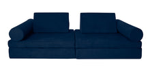 Load image into Gallery viewer, Navy coloured Cozy Fort play couch with cylinder bolsters.
