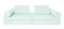 Load image into Gallery viewer, Seafoam green coloured Cozy Fort play couch with cylinder bolsters.