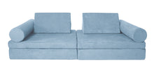 Load image into Gallery viewer, Sky blue coloured Cozy Fort play couch with cylinder bolsters.