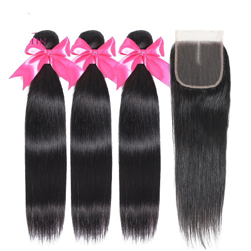 miss Straight Hair With Closure Bundles   (Pre-Ordered ONLY ONLINE )