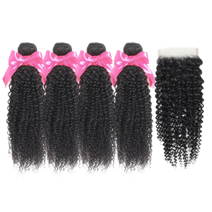 MISS KINKY CURLY BUNDLES  With  Closure  (Pre-Ordered ONLY ONLINE )