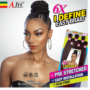 "Afri-Naptural 6X I DEFINE EASY BRAID 50"" PRE STRETCHED BRAID"