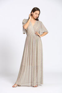 ROBE LONGUE FILS METALISES MULTICOLORES
