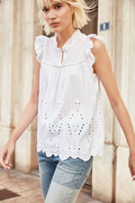 Charger l'image dans la galerie, T-AGATHA Top broderie anglaise