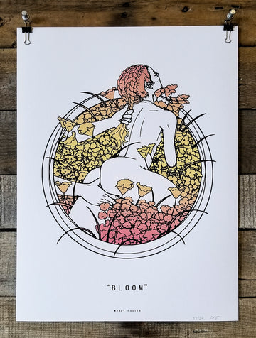 A screen print designed by Mandy Foster of a woman in a field of flowers