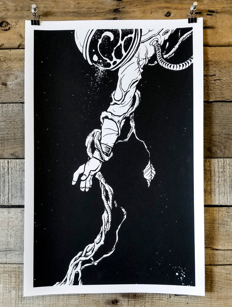 Black & White screen print by Brandon Stewart of an astronaut