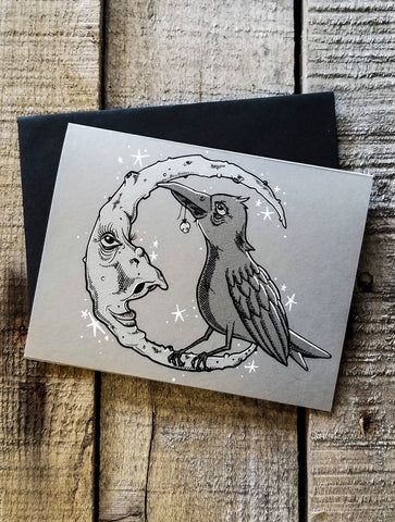 Screen printed greeting card of a raven and the moon by Nicole Thompson aka Nicole Gress