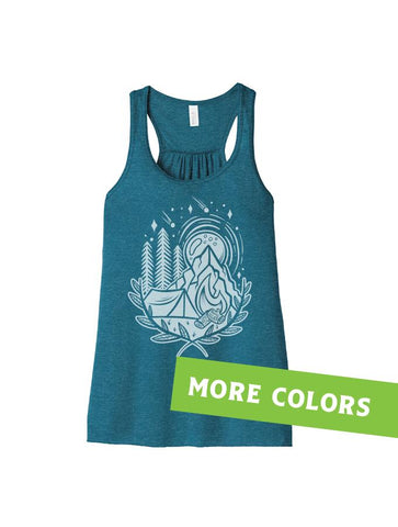 Melanie Peterson Campout Illustration Ladies Tank