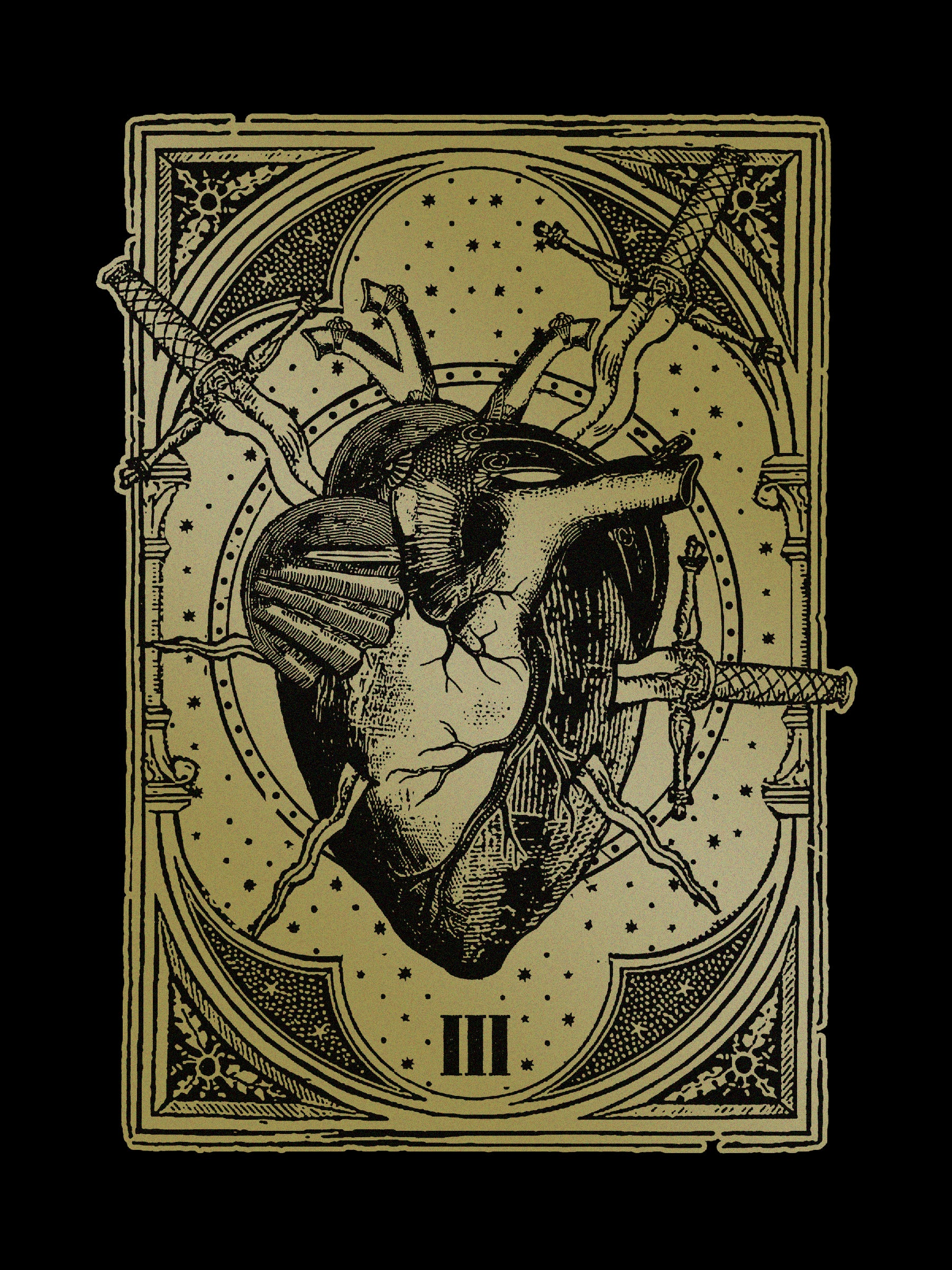 Three of Swords • 12x16 Gold Print