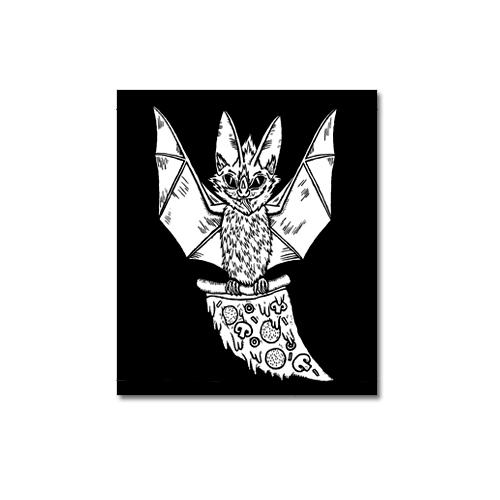Pizza Bat Canvas Patch Print Ritual