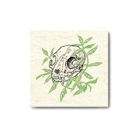 Cat Skull Catnip Canvas Patch Print Ritual