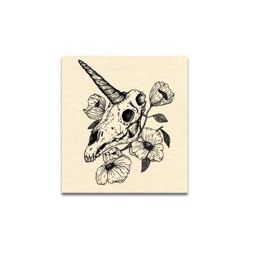 Unicorn Skull Canvas Patch Print Ritual