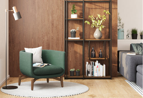 DE.CI Furniture Guide of Cozy Living Room with P.AX Shelving and LA.ND Armchair