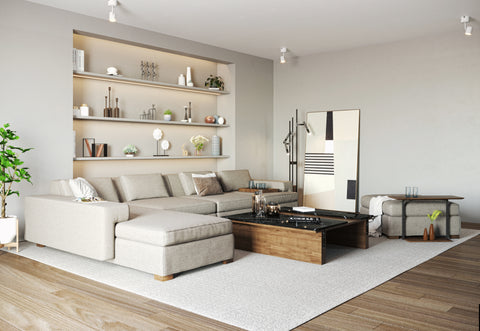 DE.CI Furniture Cozy Living Room of CL.AW L Shape Sofa and T. Coffee Table and L.IT Side Table