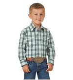 Boy's Wrinkle Resist Long Sleeve- Green Plaid