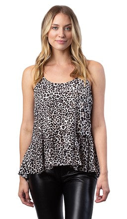 Acrobat Ashley Ruffle Tank - Leopard