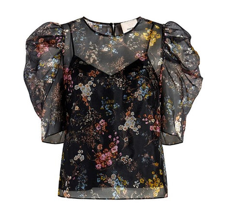 Cinq a Sept Erin Top - Sakura Black Multi