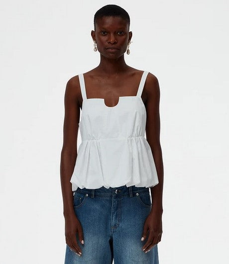Tibi Eco Poplin Strappy Balloon Peplum Top - White