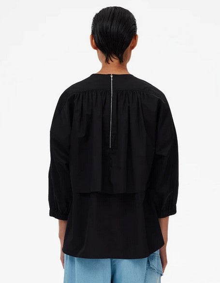 Tibi Eco Poplin Cape Top - Black