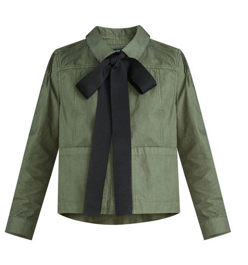 Veronica Beard Weslyn Bow Jacket - Army Green