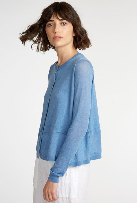 Autumn Cashmere Layered Look Crew Neck Cardigan - Jeans