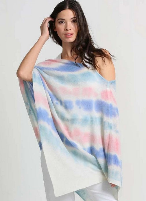 Minnie Rose Cashmere Tie Dye Ruana - Lilac Combination