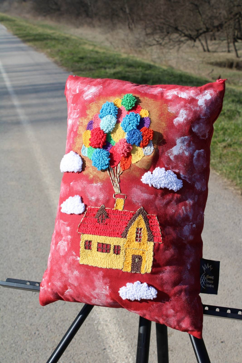 Little red house hand embroidered 45 x 30cm cushion