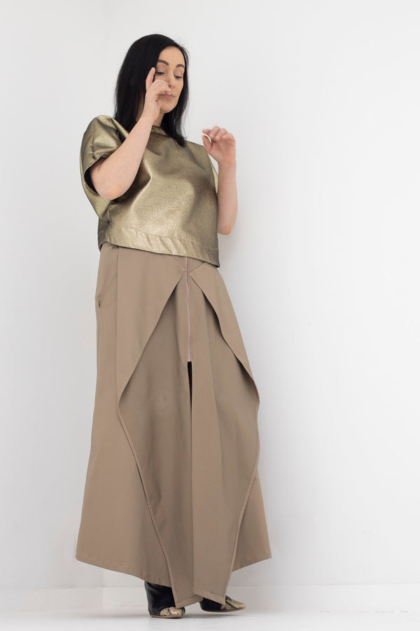 9- Orie long skirt in khaki by Natalija Rushidi